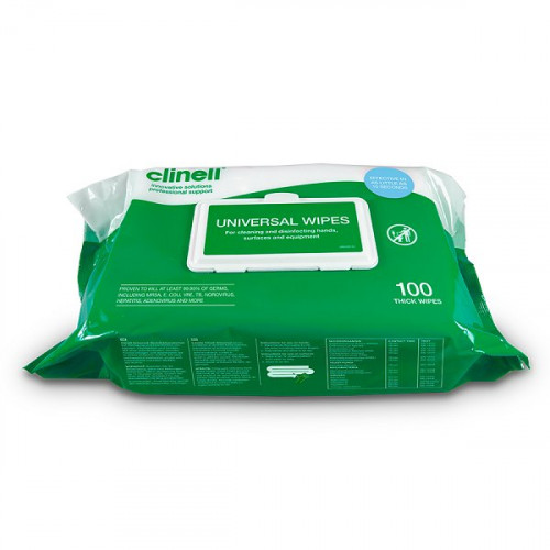 Clinell Universal Hand Wipes (Pack of 100)