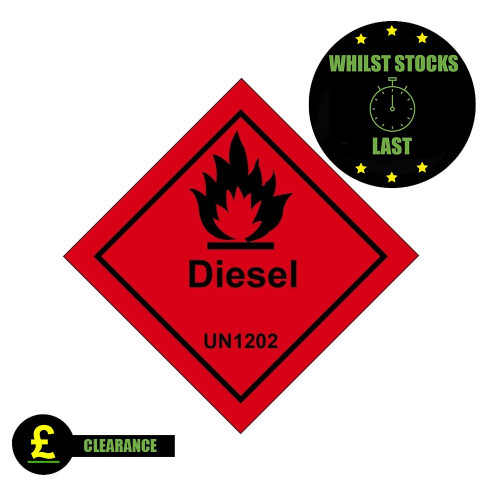 Flammable Diesel Self Adhesive Label 100 x 100 *Clearance*