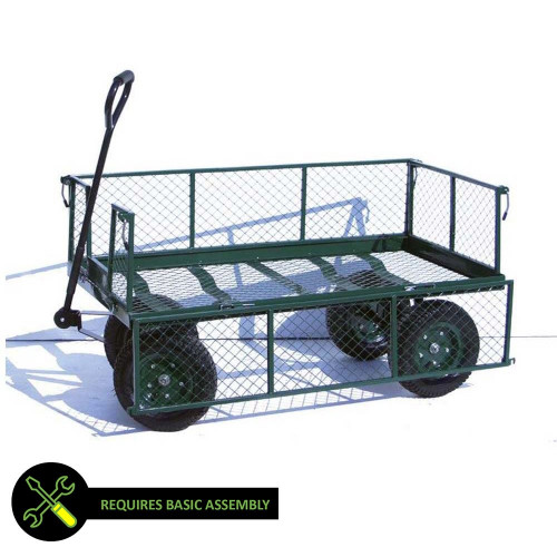 Garden Cart with Hinged Mesh Sides, 250kg Capacity