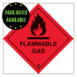 Flammable Gas 2 Self Adhesive Label - 100x100mm